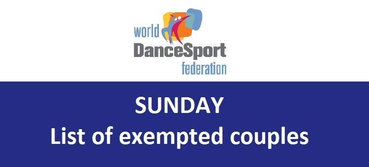 WDSF World Latin - list of exempted couples